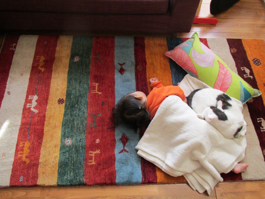 お昼寝する赤ちゃんとギャッベ